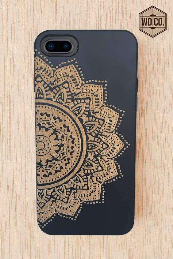 f278df6da6a Funda de madera para celular - Mandala negra | Fundas para celulares ...