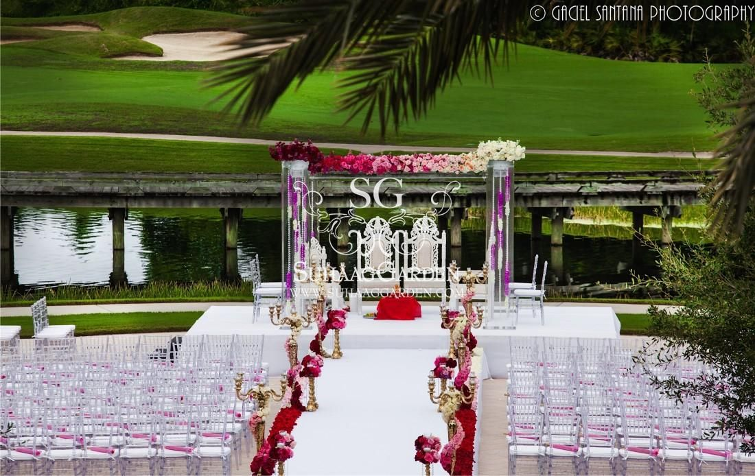 Ombre Flowers, Outdoor Mandap, Florida Indian Wedding Decorators