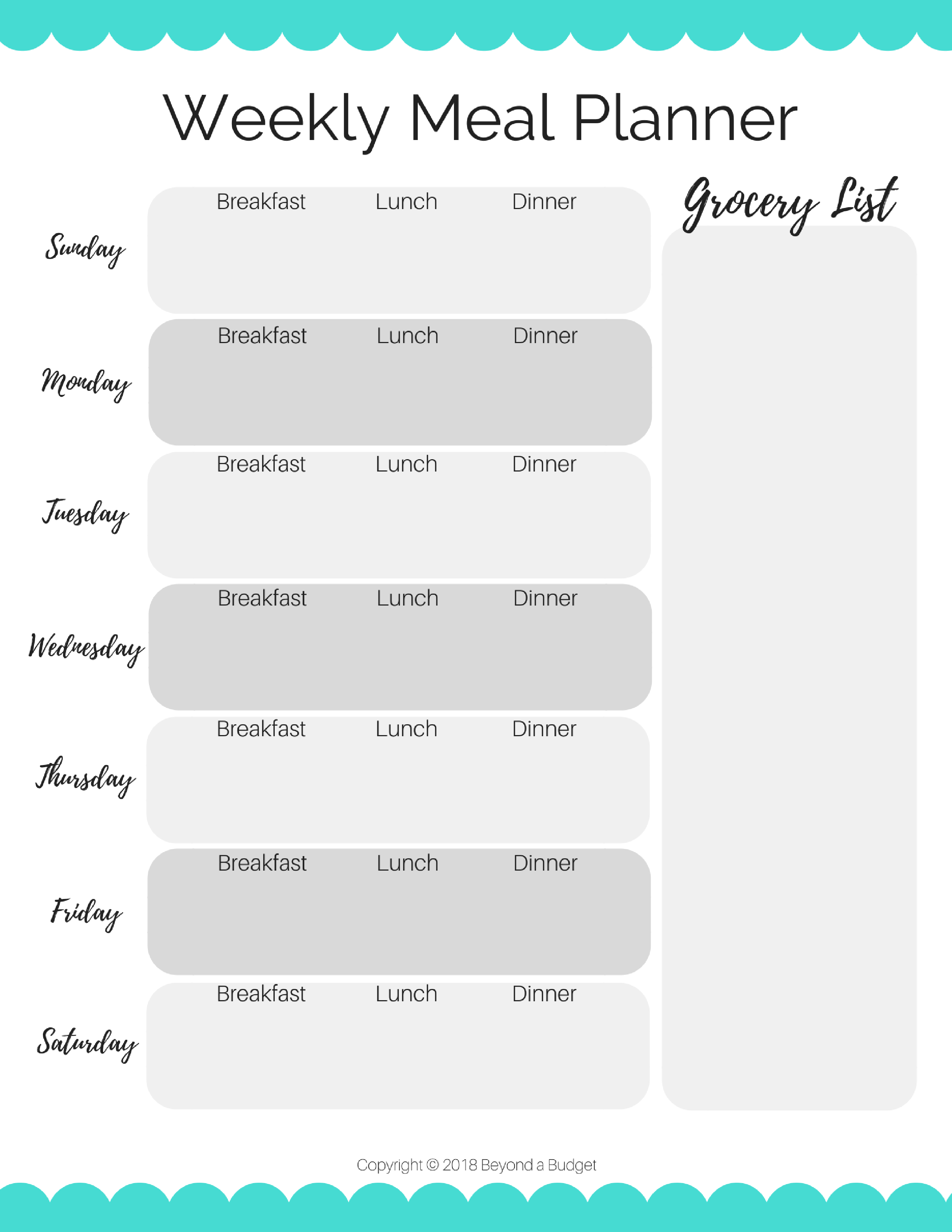 Free Weekly Meal Planning Template Instant Download