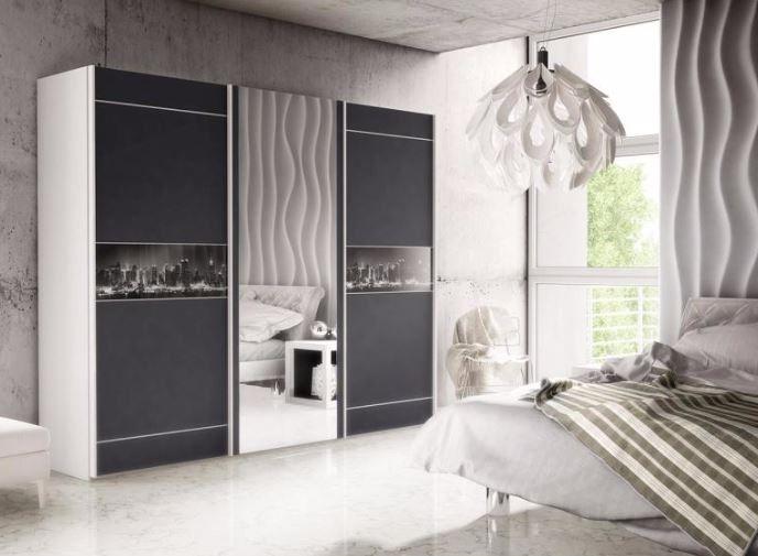 brand new modern bedroom wardrobe 3 sliding door mirror downtown