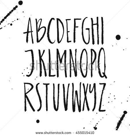 Latin Letters Drawn By Brush Vector ABC With Real Texture