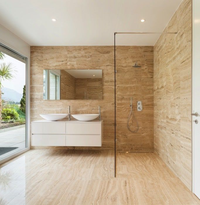 idée sol ou murs : carrelage en travertin | Renos - salle de bain ...