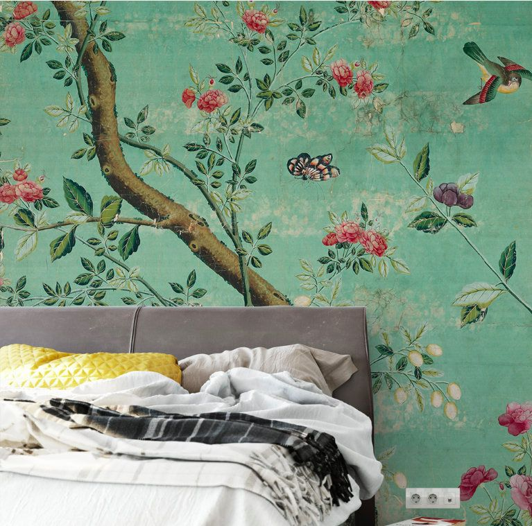Emerald Green Chinoiserie Wallpaper Self Adhesive Vintage Chinoiserie Wallpaper Dark Green Wallpaper Green Wallpaper