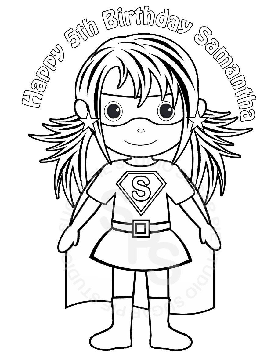 Personalized Printable SuperHero Girl Birthday Party Favor Childrens Kids Coloring  Page Book Activity PDF Or JPEG File. $2.00, Via Etsy.