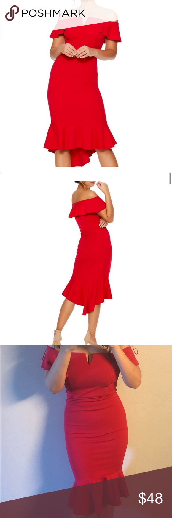 Quiz Red Dress Quiz Off The Shoulder Red Dress Size 6 Form Fitting Worn Once To A Wedding Endless Compliments People Kep Red Dress Dresses Mini Dress