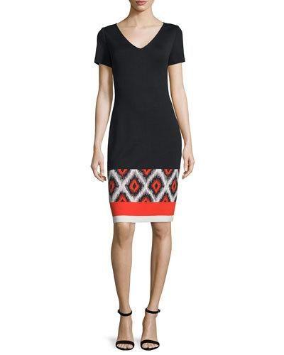 B38GC St. John Collection Ikat-Hem Milano Knit V-Neck Dress, Caviar/Multi