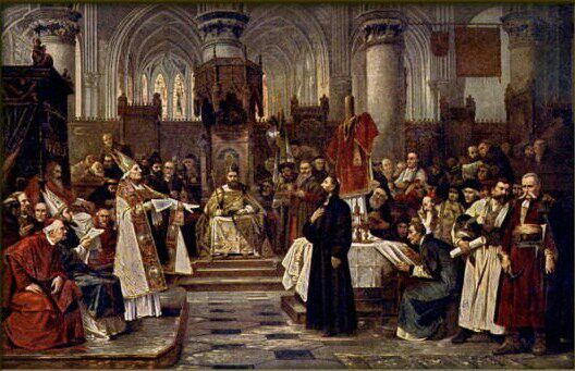 Creative And Academic Freedom Under Threat From Religious: Jan Hus Being Sentenced, Painting By Vaclav Brozik