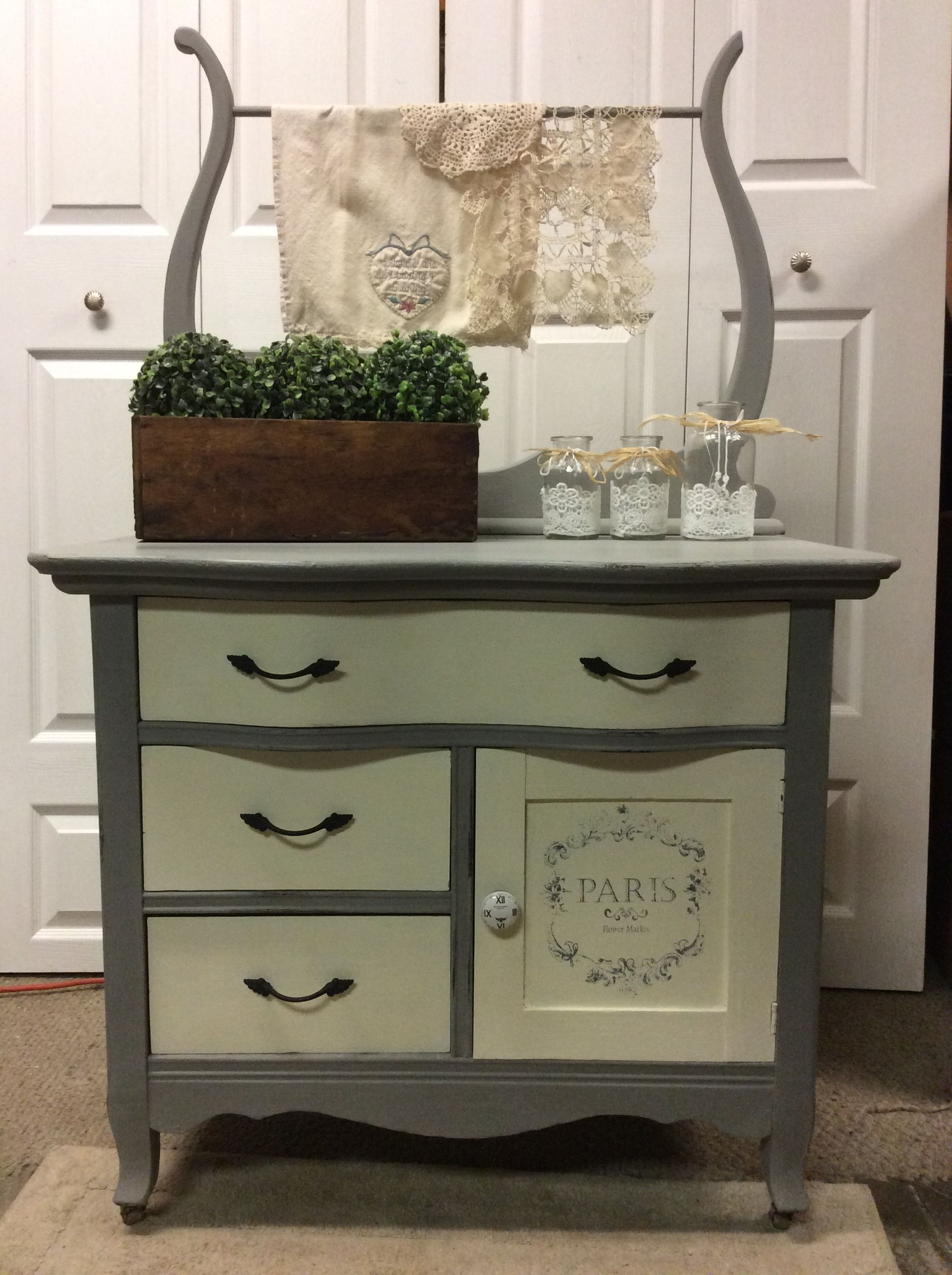Chalk Painted Antique Washstand Rustic Painted Furniture Refinishing Furniture Rustic Furniture Diy