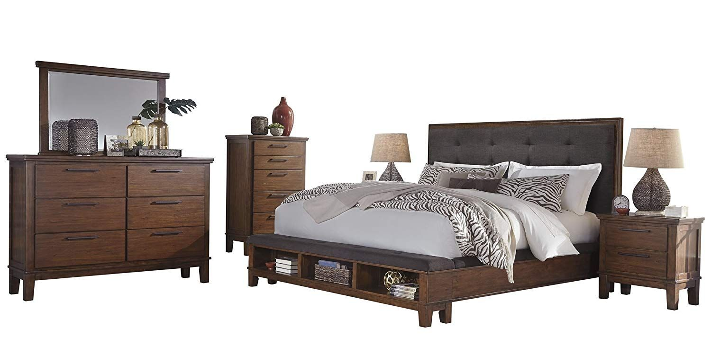 Ashley Ralene 6pc Bedroom Set Cal King Upholstered Storage Bed