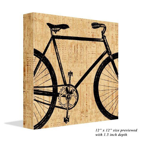 Antique Art Old Bicycle Canvas Print Bike Wall Art Vintage Print ...
