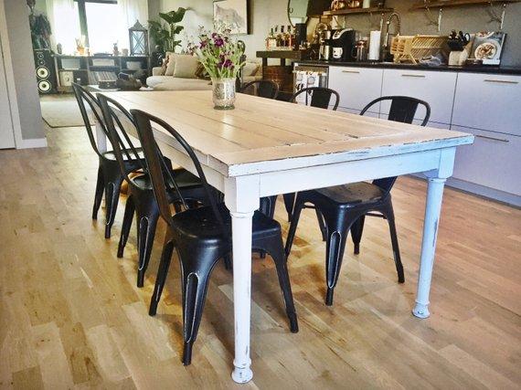 Large Rustic Farmhouse White Farm Dining Table In 2020 Farmhouse