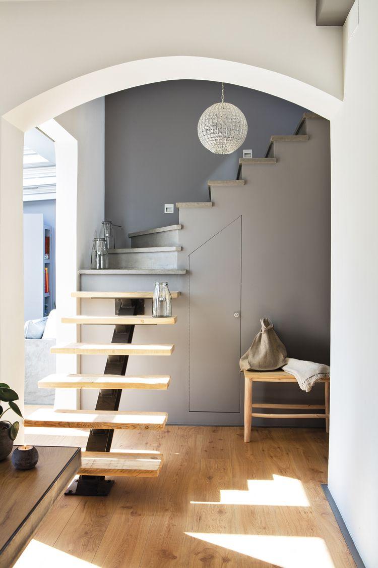 Viertelgewendelte Treppe Platzsparend Stauraum Holz Grau