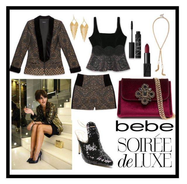 """Soirée de Luxe with bebe Holiday: Contest Entry"" by kc-spangler ❤ liked on Polyvore featuring Bebe, NARS Cosmetics and Panacea"