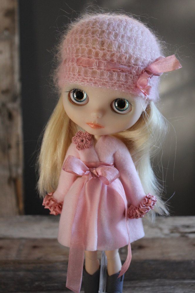 For Blythe. Pale Pink Fleece Wrap Dress/Over Coat.. $35.00/£22.43 TaylorCouture (Abi Monroe) @ etsy