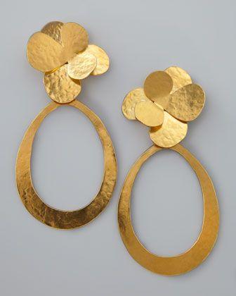 Herve Van Der Straeten Hammered Gold Petal Earrings
