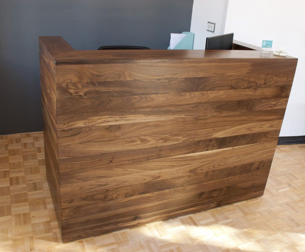 Reception Furniture Reception Desk With Solid Walnut Cladding Vintage Nail