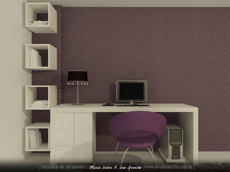 quarto pequeno com escrivaninha Escritório Residencial  ~ Quarto Planejado Escrivaninha