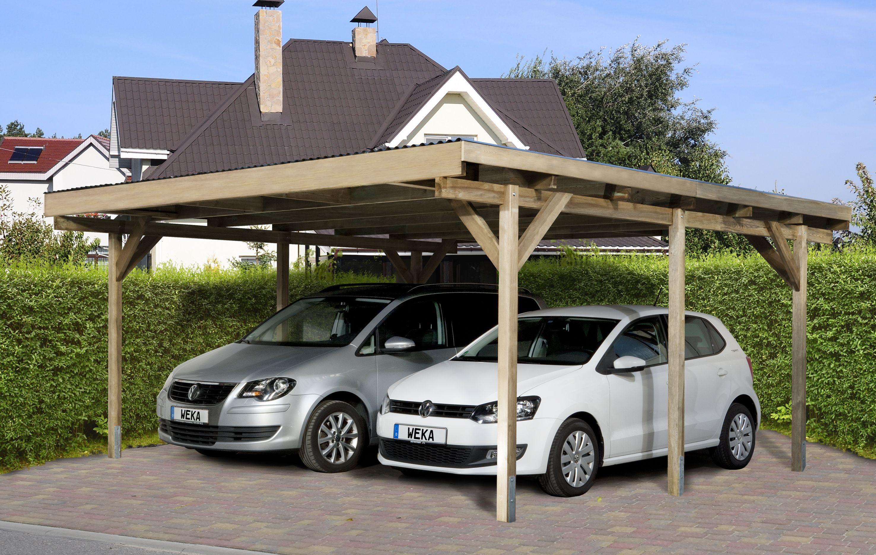 Moderne houten carport geschikt voor 2 auto s blokhutvillage
