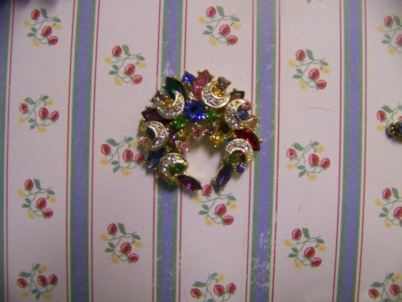 Multicolored Rhinestone Wreath Pin Altered to by BlueberryManor, $9.95