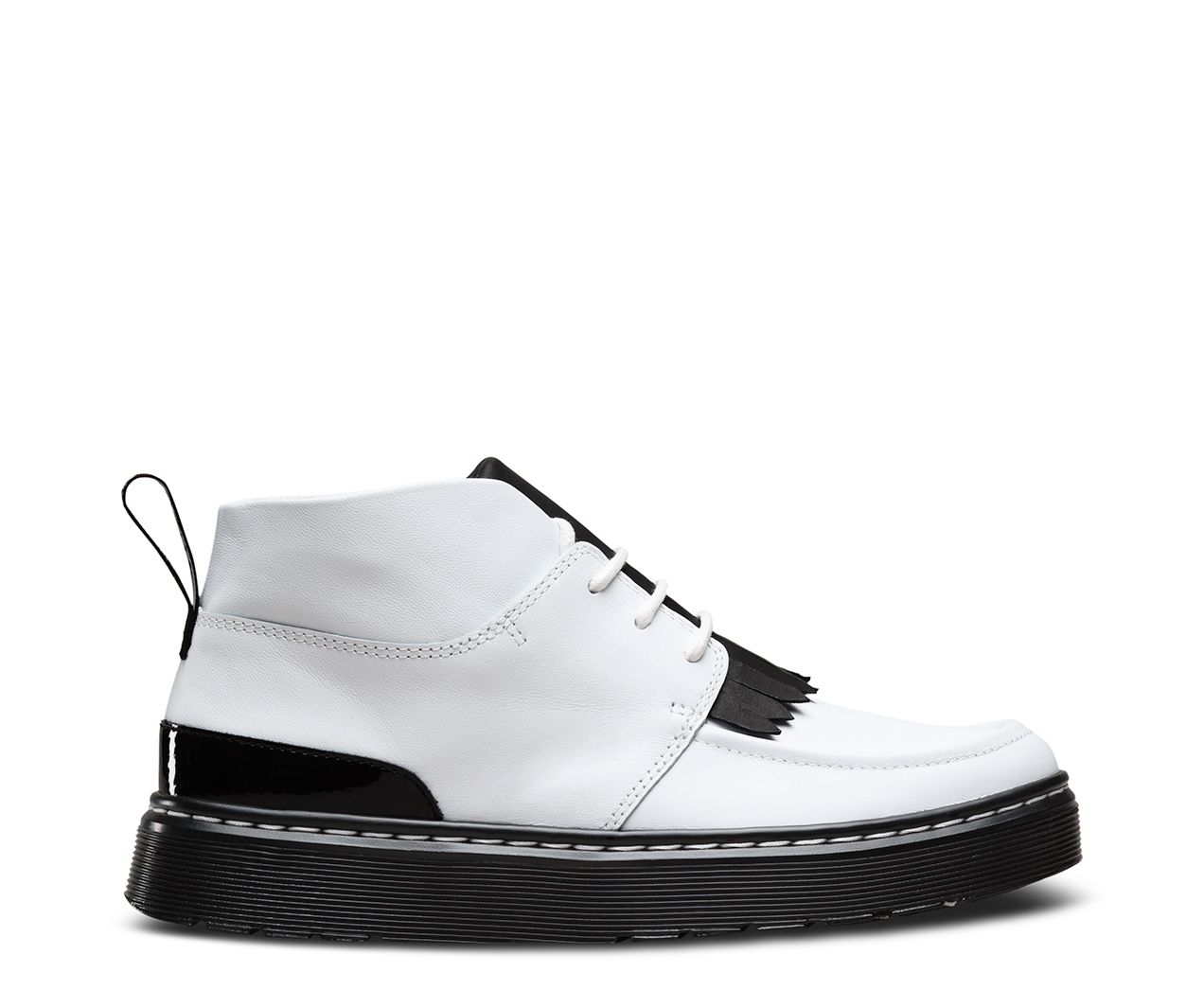 The Jemima boot is a 3-eye Chukka style with high contrast black and white  colorblocking and kiltie fringe fashion detail — plus classic Dr. Martens  comfort ...