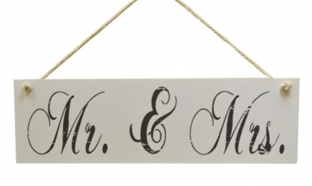 A Lovely Shabby Chic Vintage Style Wooden Hanging Sign With The Words Mr Mrs In Beautiful Black Script Writing There Is Useful Rope To Hang
