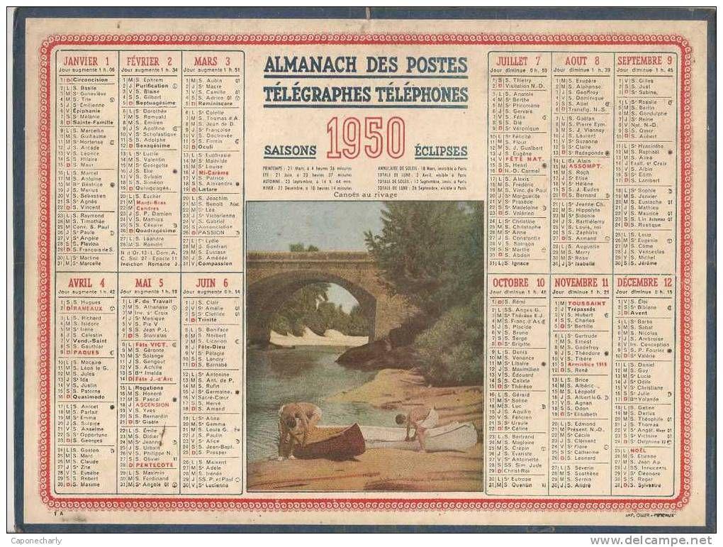 Calendrier Poste.1950 Calendrier Poste Almanach Des P T T 08 Ardennes Numero