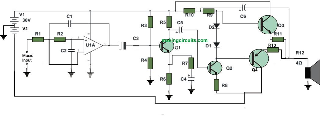 High Watt Subwoofer Amplifier Circuit Electronic Diy Circuit