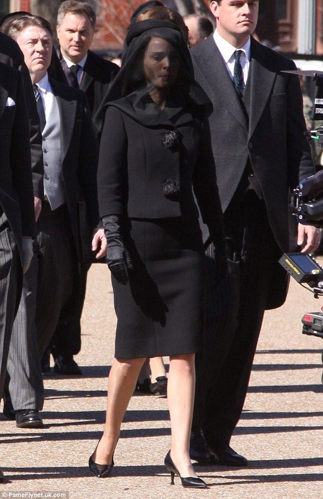 Natalie portman channels jackie kennedy in black veil for for Jackie kennedy movie