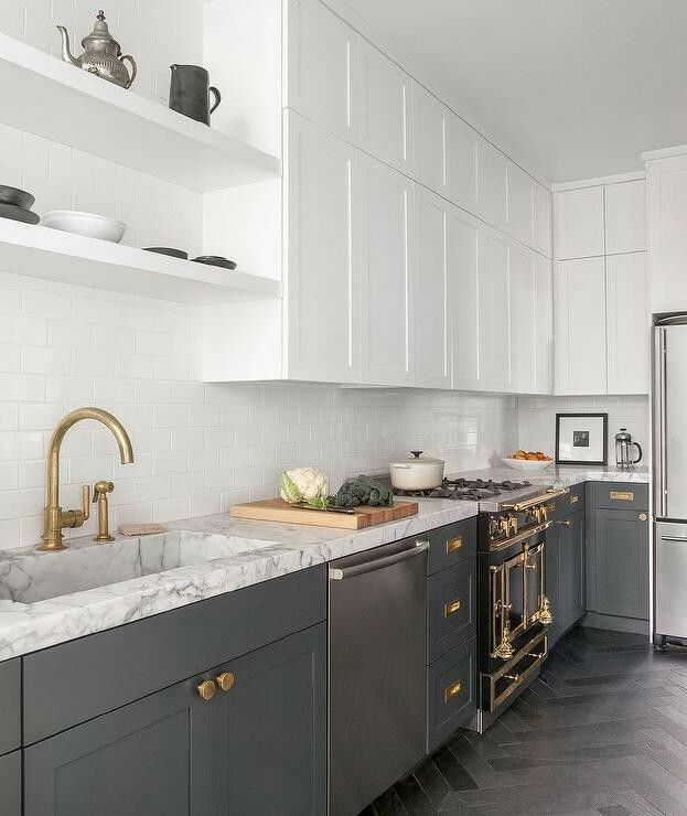 white shaker kitchen cabinets grey floor. Beautiful White And Gray Contemporary Kitchen Boasts Herringbone Floor Tiles Complementing Charcoal Shaker Cabinets Accented With Aged Brass Knobs Grey I
