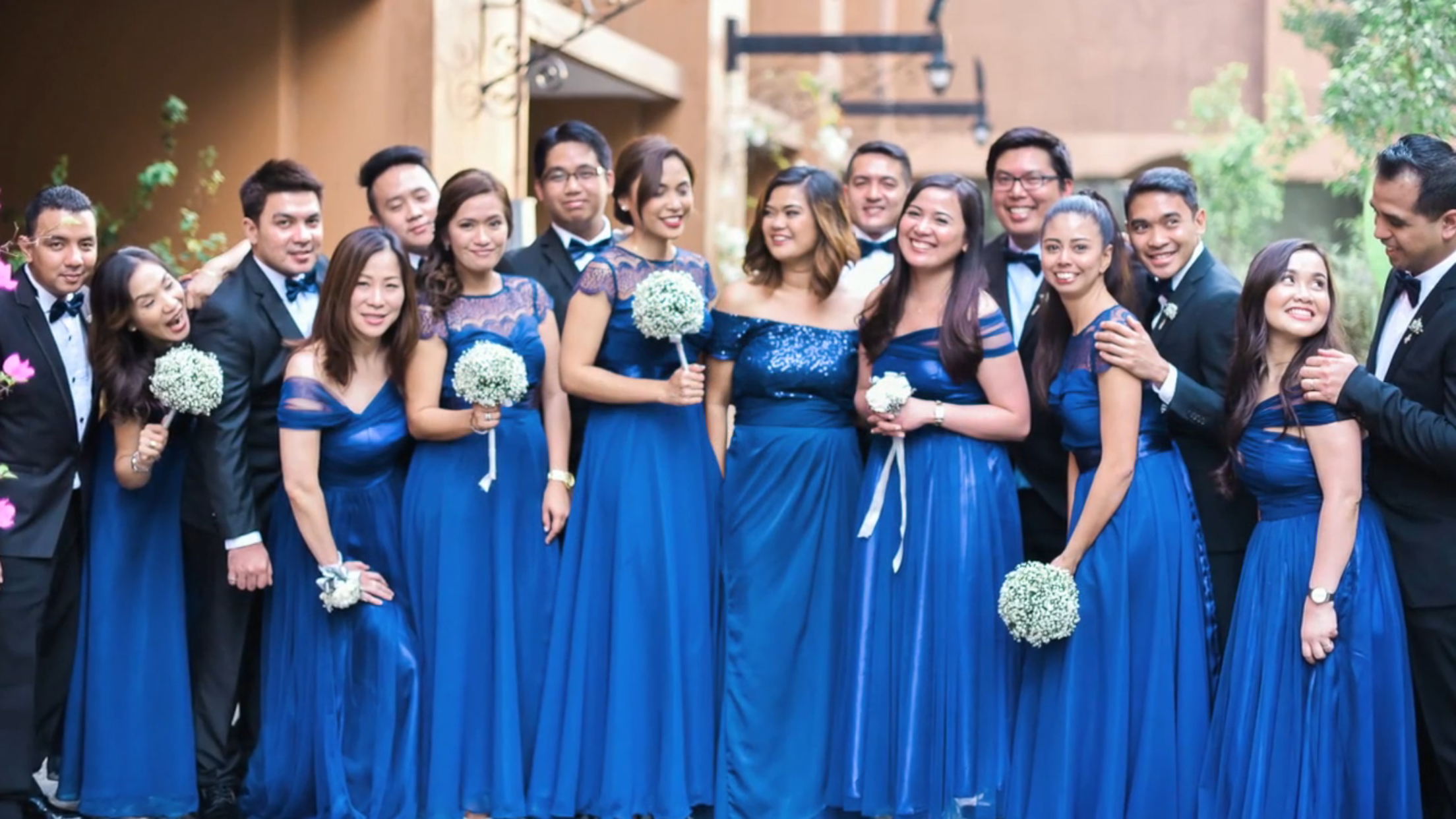 Bridesmaid Million Star Bouquet Secondary Sponsors In Rose Wristlet Both Midnight Blue Gown Silver And Gold Motif Wedding