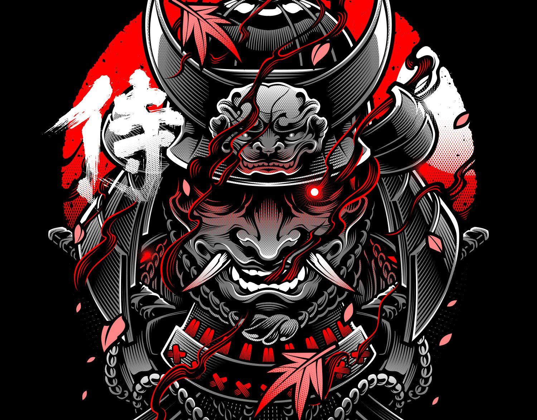 Samurai Vector Art Commissioned Project In 2020 Oni Mask Samurai Artwork Oni Samurai