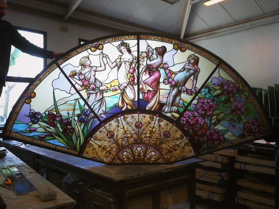 Stained Glass Wall Decoration In Progress By C France Vitrail International Pictured In Our Arts And Crafts Glass Studio In 2020 Stained Glass Glass Wall Glass Crafts