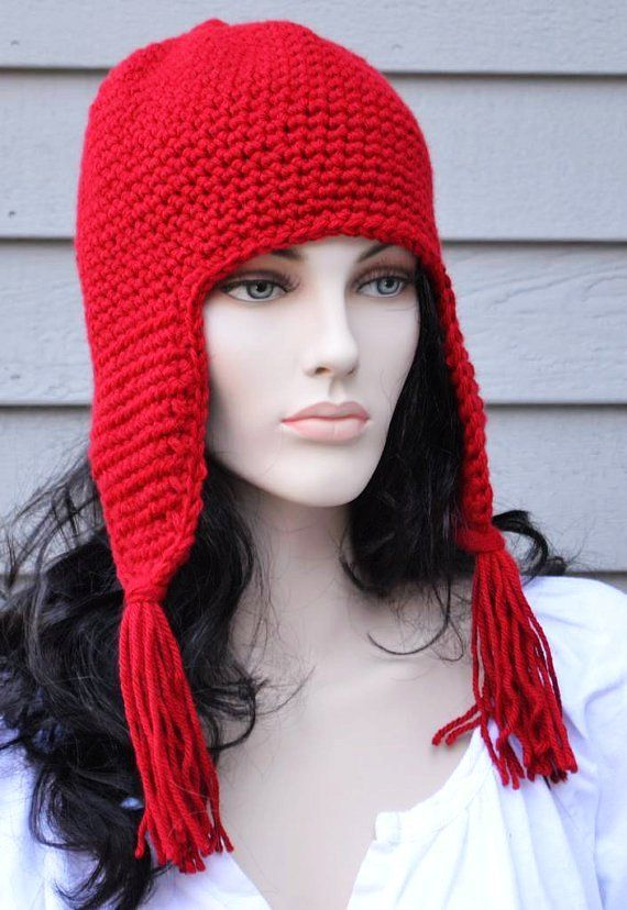 Wine Red Ear Flap Hat with Tassels Hand Crocheted Mens Hat Women ...