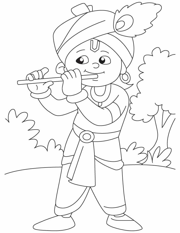 Krishna Coloring Page Illustrations Paper Crafts In 2019