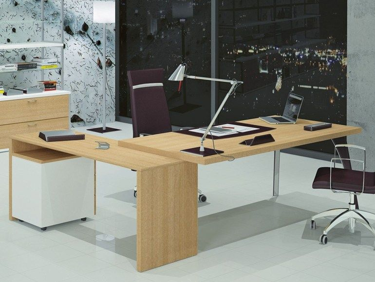 Lshaped wooden executive desk Duetto Collection by