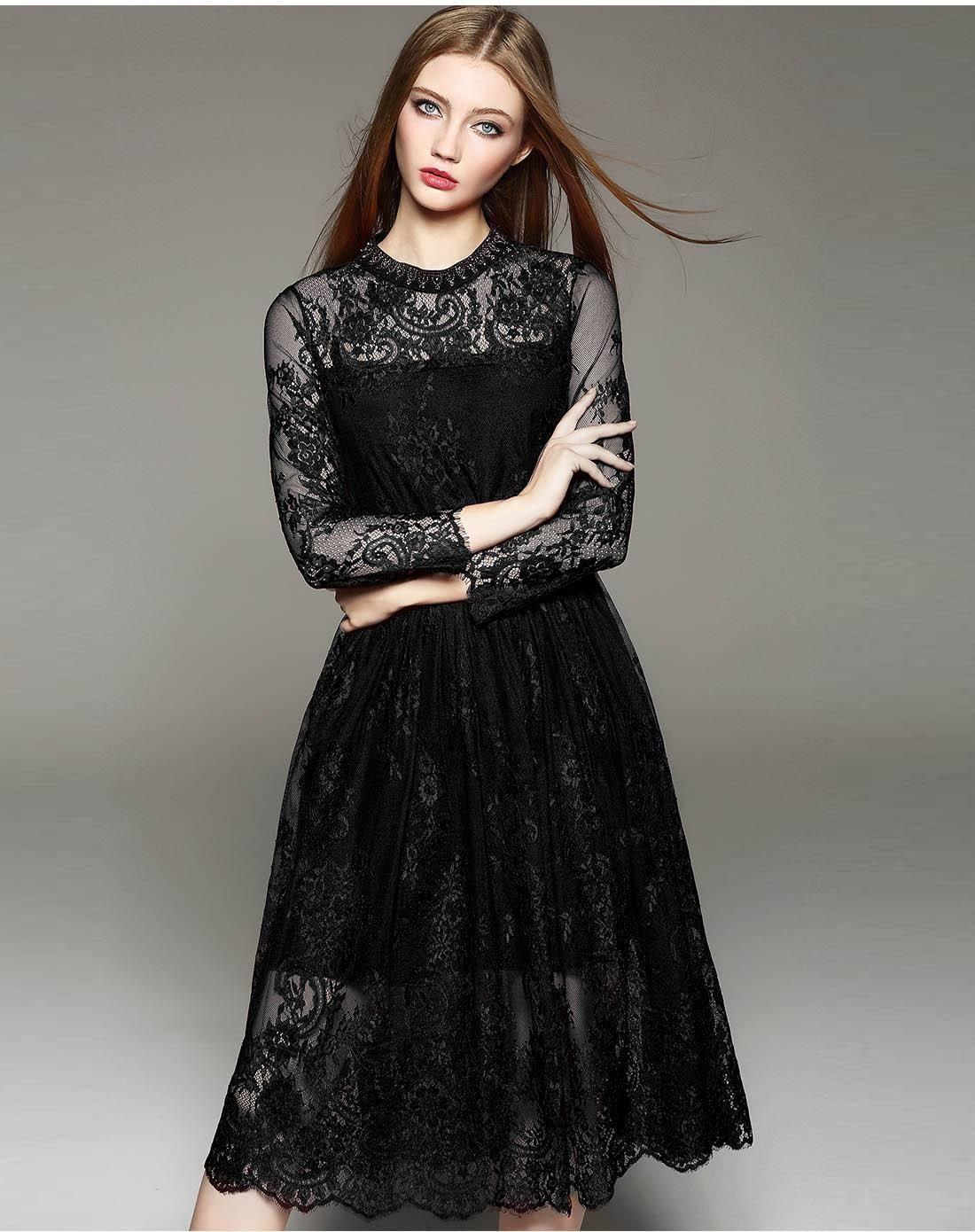 Long sleeve black wedding dresses  Black Hollow Lace Long Sleeve Midi Dress Black FLENKIY  VIPme