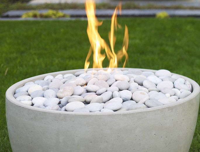 Modernfirepittoppingstones Fires Pinterest Modern - Concrete outdoor fireplace river rock fire bowl from restoration hardware