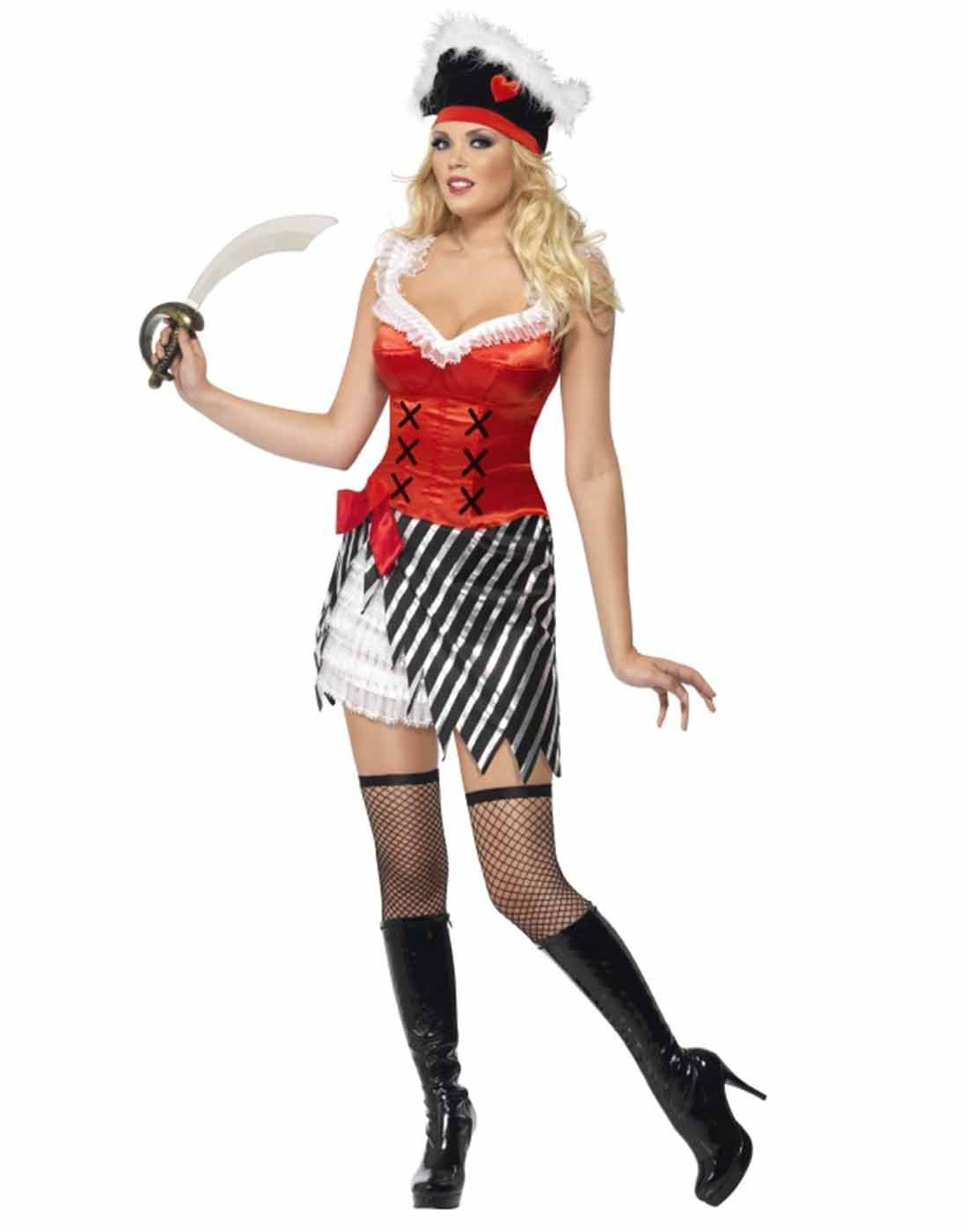 Fever Pirate Hat Fancy Dress Black Accessory Ladies Costume Smiffys Womens