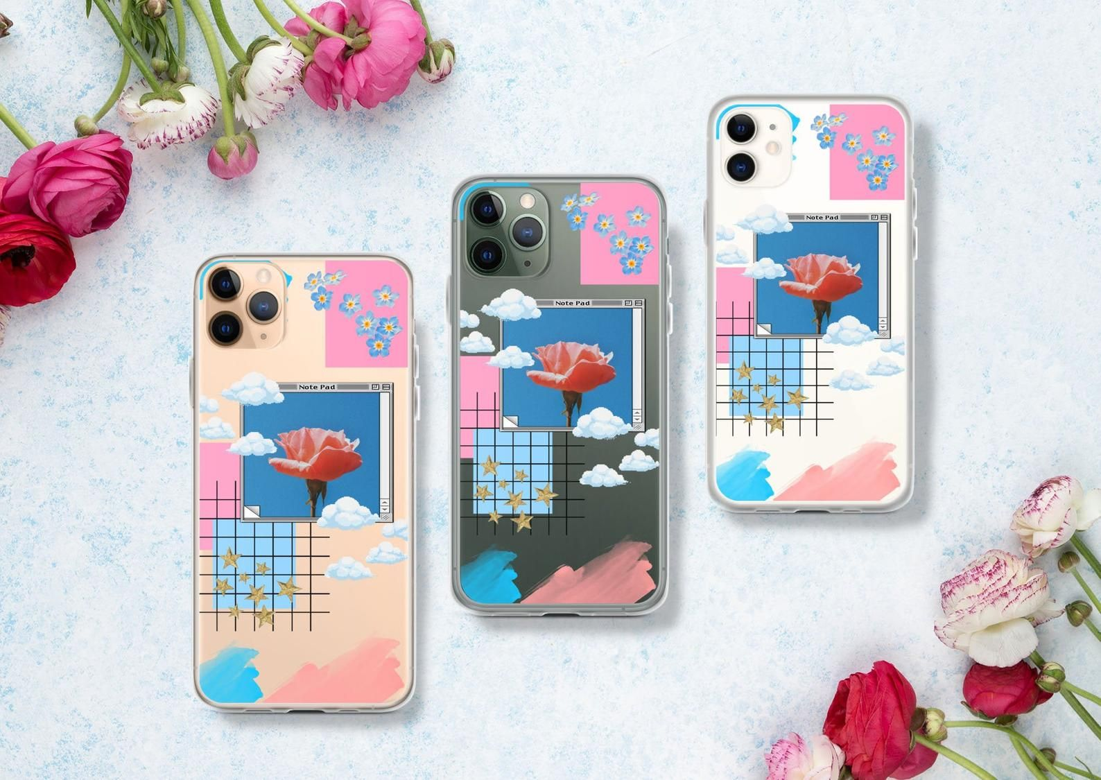 Rose Collage Clear Iphone 11 Case Aesthetic Iphone Xr Tumblr Etsy Iphone 11 Case Iphone