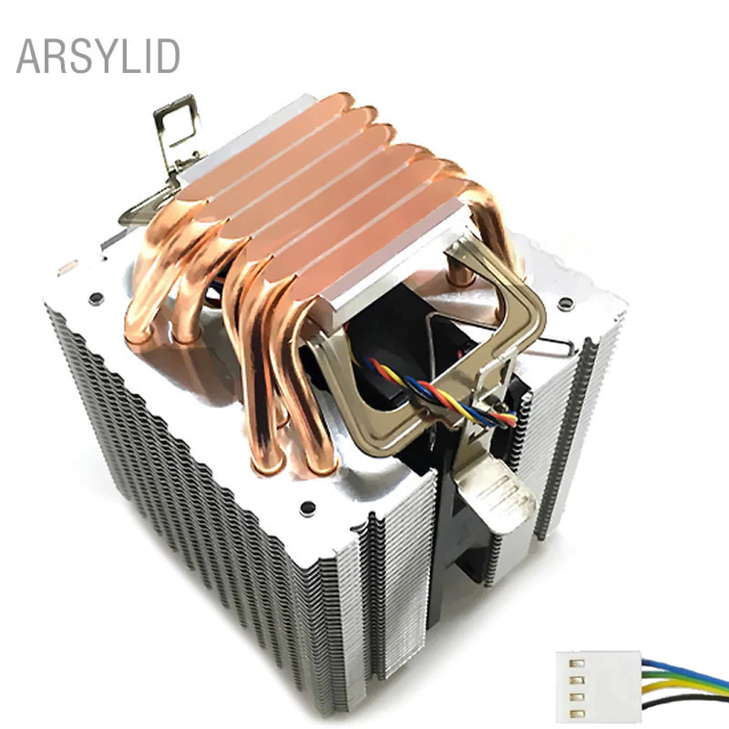 High Quality 4pin Cpu Cooler 115x 1366 2011 6 Heatpipe Dual Tower