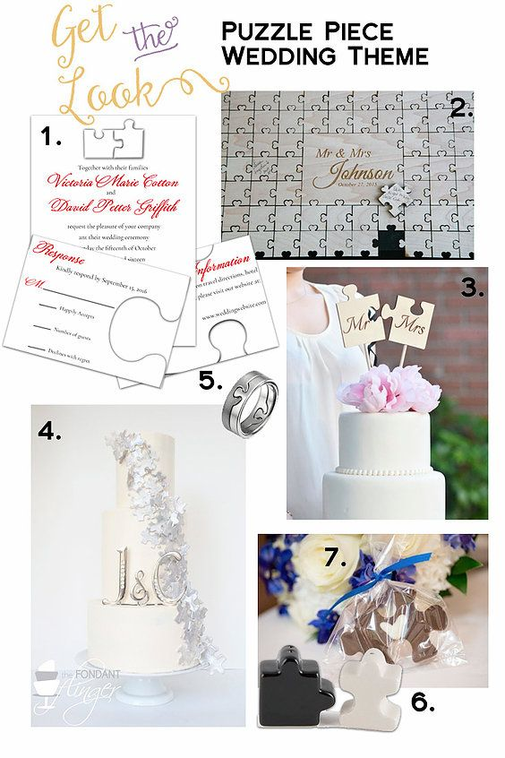 Get The Look Puzzle Piece Wedding Invitations Guest Book