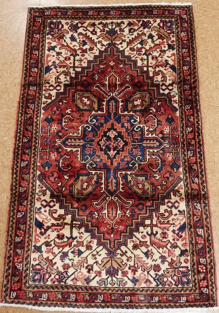 3 X 5 Persian Heriz Tribal Hand Knotted Wool Red Blue Oriental Area Rug Persianheriztribalgeometric