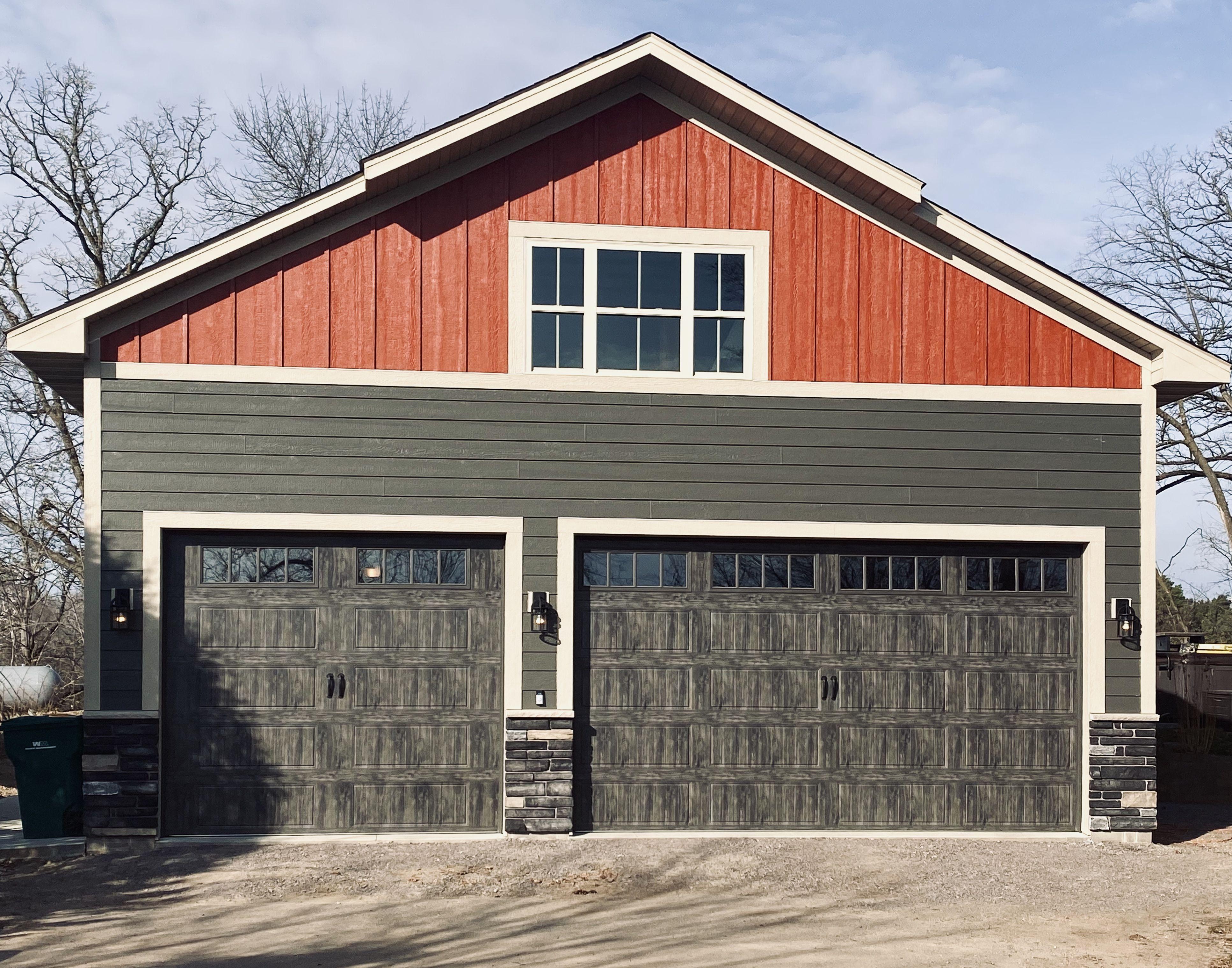 Clopay Gallery Series Garage Doors In Oak Slate And Rec14 Windows