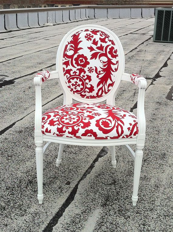 Red Damask Upholstered French Louis XVI Bergere Accent Red U0026 White Armchair  Custom Made By Heather Throne Upholstery On Etsy, $589.00