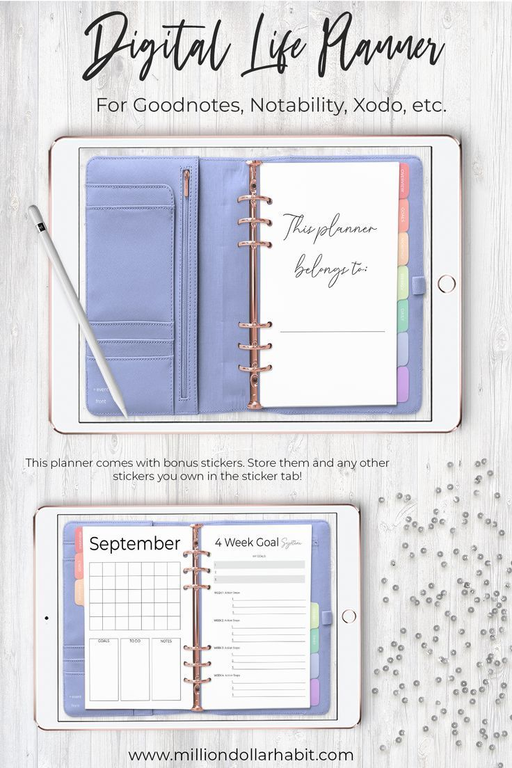 Digital Planner Goodnotes Undated Digital Life Planner | Etsy
