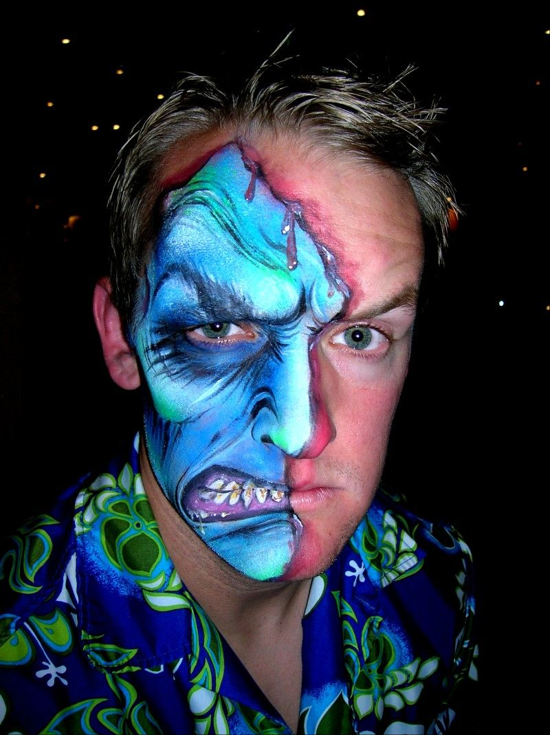 Two Face Haloween face paint by ~Bodypaintingbycatdot on ...