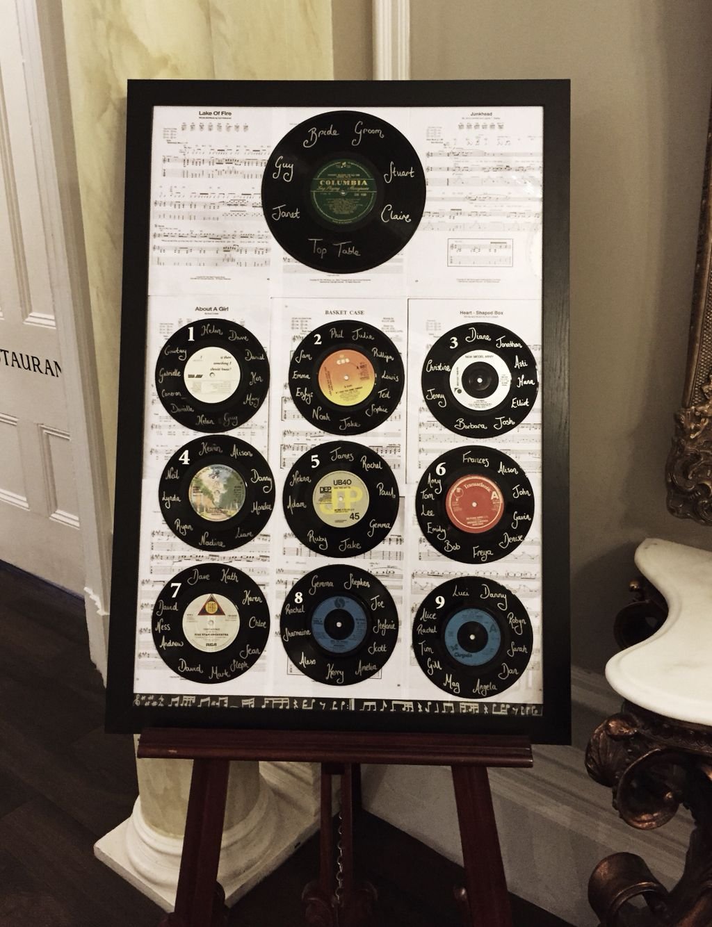 love this vintage vinyl record table plan exclusive wedding venue ashfield house wedding. Black Bedroom Furniture Sets. Home Design Ideas