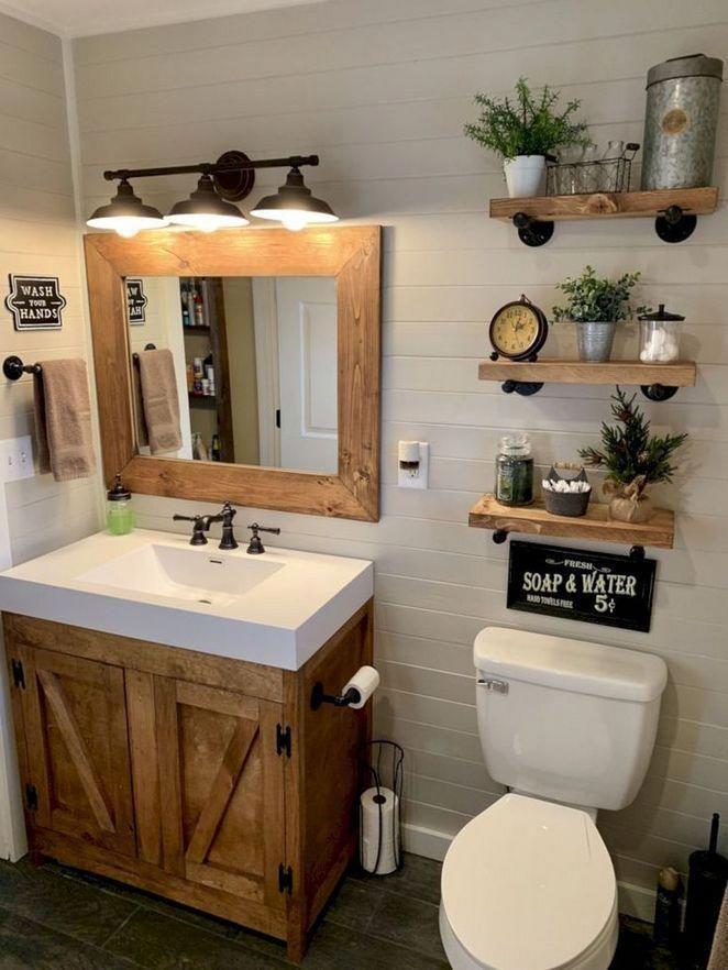 38 Outrageous Farmhouse Decor Bathroom Storage Ideas Tips Homecenterrealty Com Modernhomedecorbath Farmhouse Bathroom Decor Rustic Bathrooms Small Bathroom