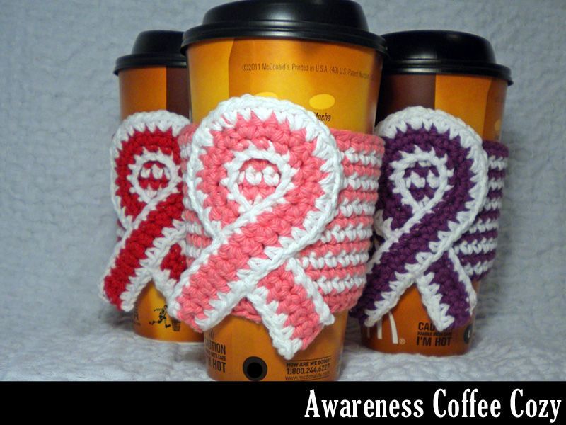 Thinking about making these for the cf walk next year awareness thinking about making these for the cf walk next year awareness coffee cozy crochet pattern dt1010fo