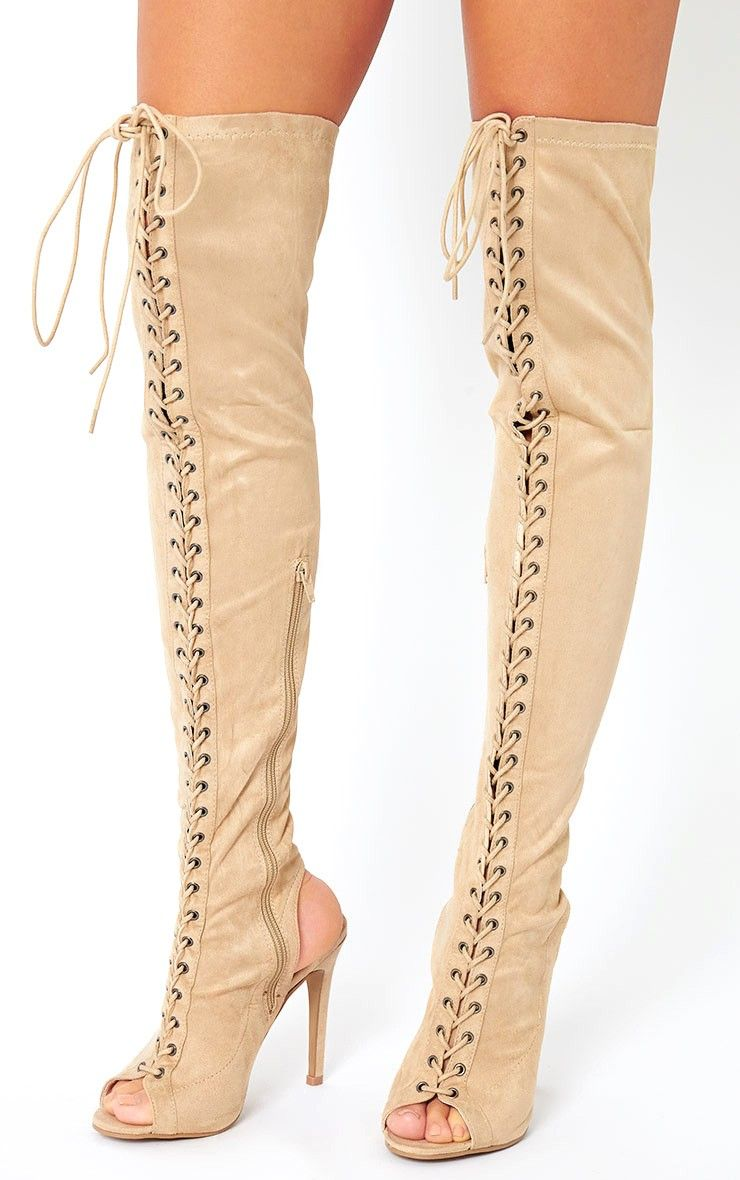 Valentina Nude Suede Lace Up Thigh Boots-3, Pink | ML Heels ...